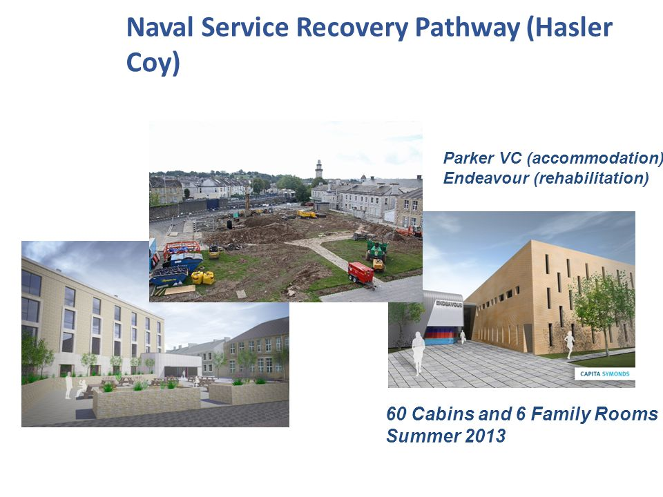 Parker VC (accommodation) Endeavour (rehabilitation) Naval Service Recovery Pathway (Hasler Coy) 60 Cabins and 6 Family Rooms Summer 2013