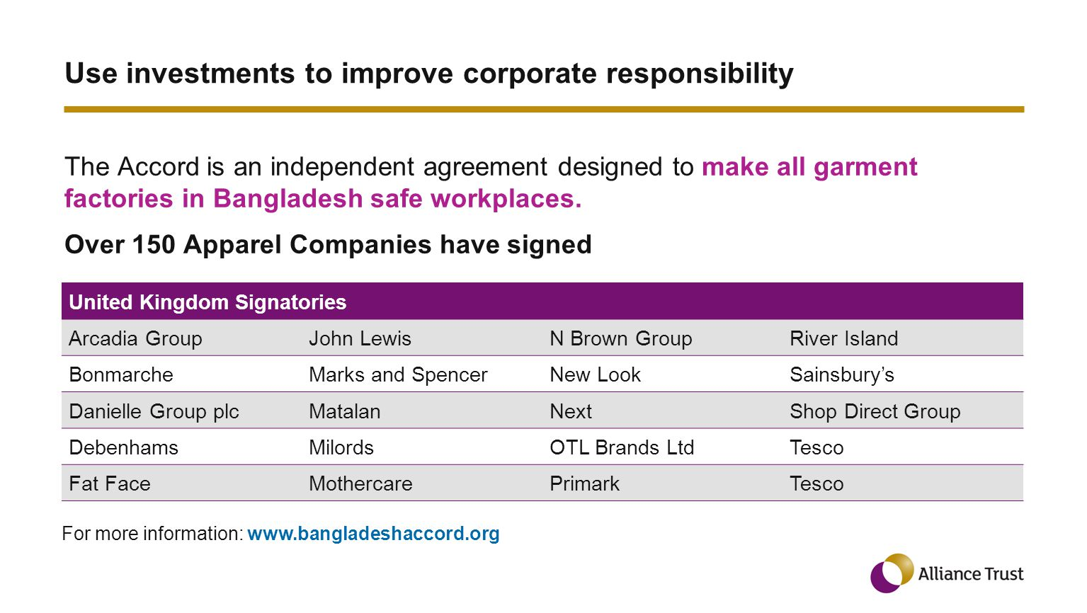Use investments to improve corporate responsibility The Accord is an independent agreement designed to make all garment factories in Bangladesh safe workplaces.
