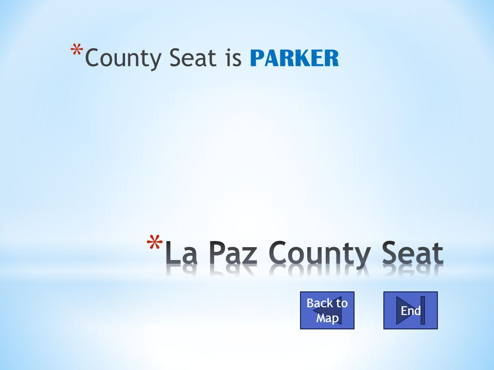 * County Seat is PARKER Back to Map End