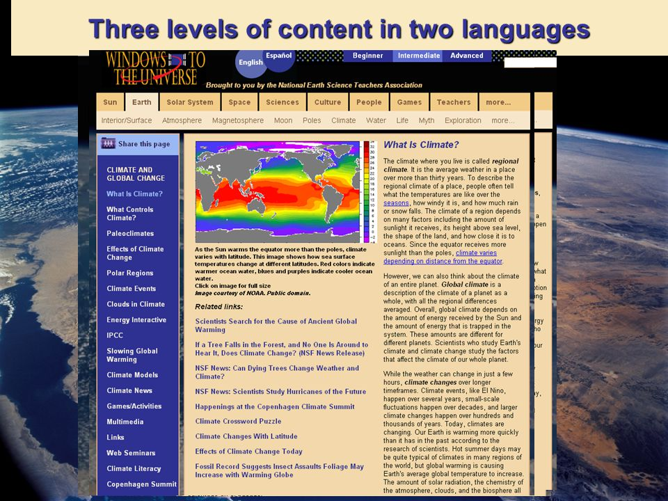 Three levels of content in two languages