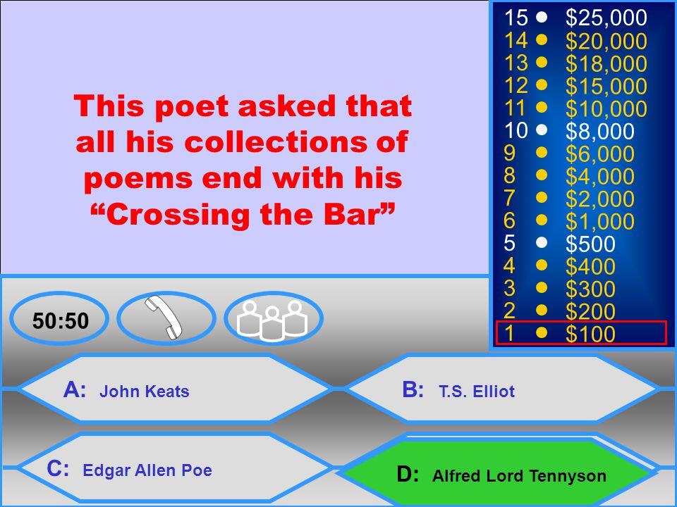 4 A: John Keats C: Edgar Allen Poe B: T.S.
