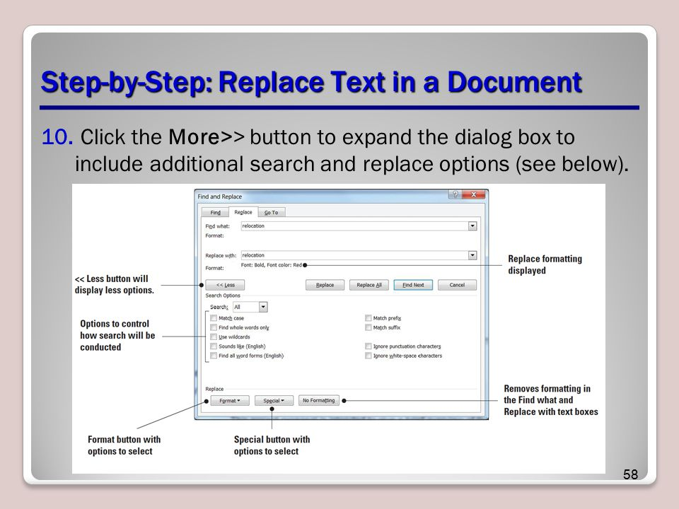 Step-by-Step: Replace Text in a Document 10.