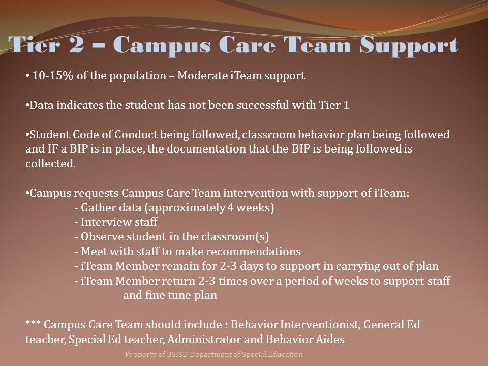 Tier 2 – Campus Care Team Support Property of BSISD Department of Special Education 10-15% of the population – Moderate iTeam support Data indicates the student has not been successful with Tier 1 Student Code of Conduct being followed, classroom behavior plan being followed and IF a BIP is in place, the documentation that the BIP is being followed is collected.