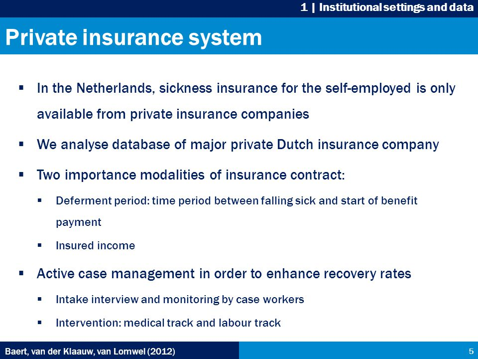 Private insurance system  In the Netherlands, sickness insurance for the self-employed is only available from private insurance companies  We analyse database of major private Dutch insurance company  Two importance modalities of insurance contract:  Deferment period: time period between falling sick and start of benefit payment  Insured income  Active case management in order to enhance recovery rates  Intake interview and monitoring by case workers  Intervention: medical track and labour track Baert, van der Klaauw, van Lomwel (2012) 5 1 | Institutional settings and data