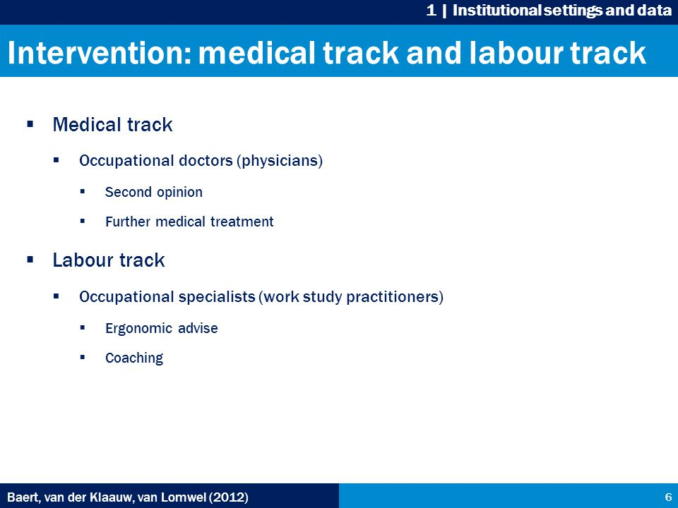 Intervention: medical track and labour track  Medical track  Occupational doctors (physicians)  Second opinion  Further medical treatment  Labour track  Occupational specialists (work study practitioners)  Ergonomic advise  Coaching Baert, van der Klaauw, van Lomwel (2012) 6 1 | Institutional settings and data