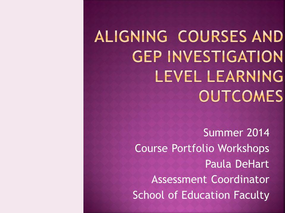Summer 2014 Course Portfolio Workshops Paula DeHart Assessment Coordinator School of Education Faculty