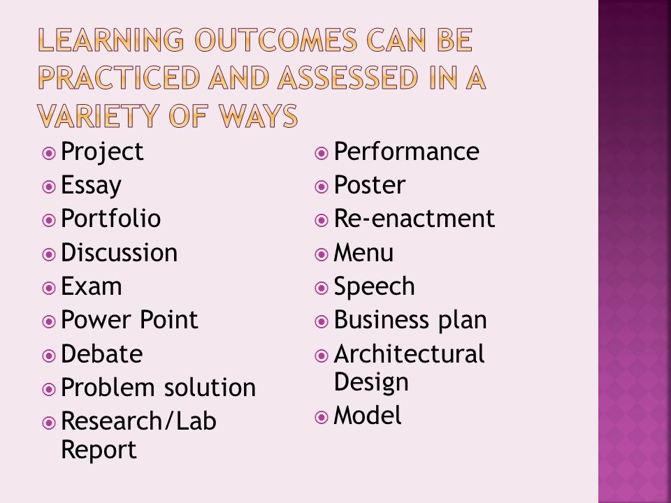  Project  Essay  Portfolio  Discussion  Exam  Power Point  Debate  Problem solution  Research/Lab Report  Performance  Poster  Re-enactment  Menu  Speech  Business plan  Architectural Design  Model