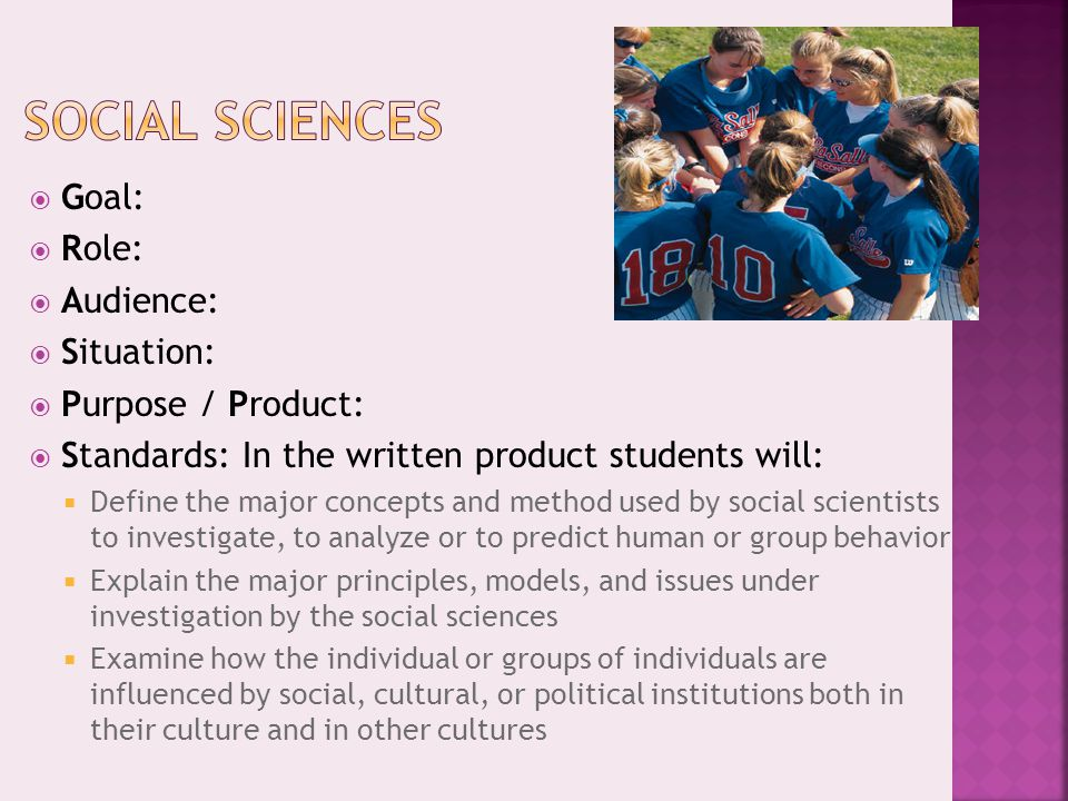  Goal:  Role:  Audience:  Situation:  Purpose / Product:  Standards: In the written product students will:  Define the major concepts and metho