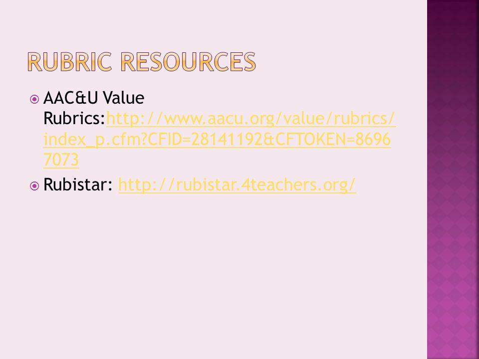  AAC&U Value Rubrics:http://www.aacu.org/value/rubrics/ index_p.cfm CFID=28141192&CFTOKEN=8696 7073http://www.aacu.org/value/rubrics/ index_p.cfm CFID=28141192&CFTOKEN=8696 7073  Rubistar: http://rubistar.4teachers.org/http://rubistar.4teachers.org/