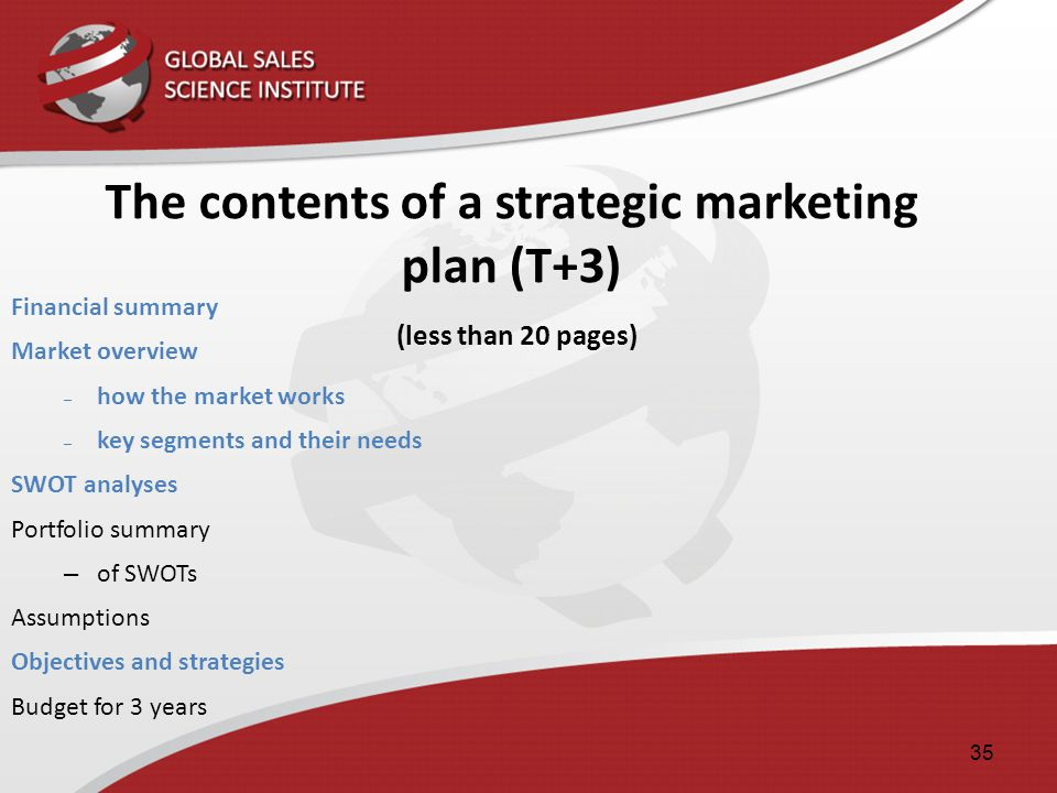 The contents of a strategic marketing plan (T+3) (less than 20 pages) 35 Financial summary Market overview – how the market works – key segments and t