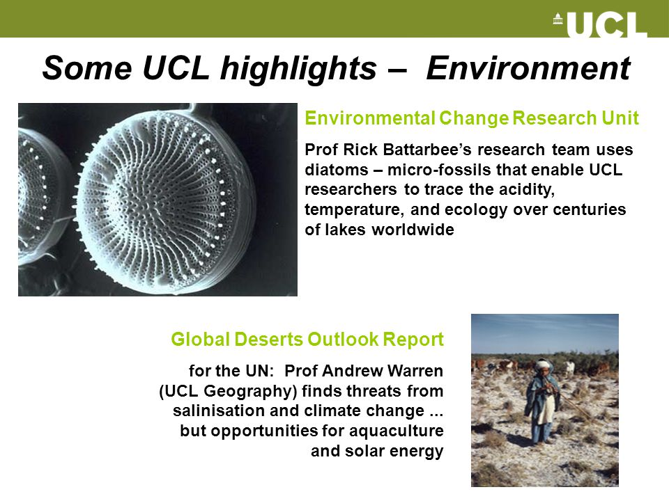 Some UCL highlights – Environment Global Deserts Outlook Report for the UN: Prof Andrew Warren (UCL Geography) finds threats from salinisation and cli