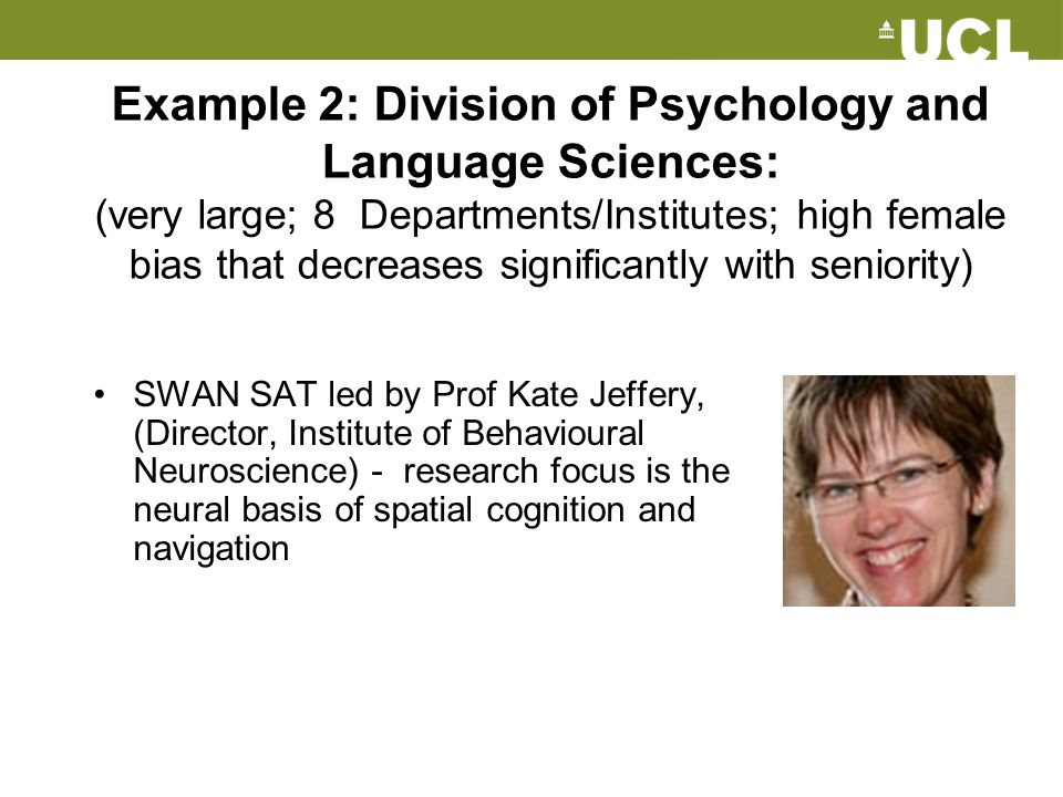 Example 2: Division of Psychology and Language Sciences: (very large; 8 Departments/Institutes; high female bias that decreases significantly with sen