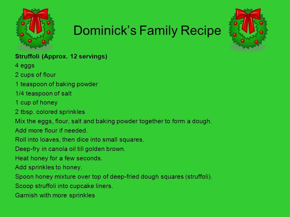 Dominick's Family Recipe Struffoli (Approx.