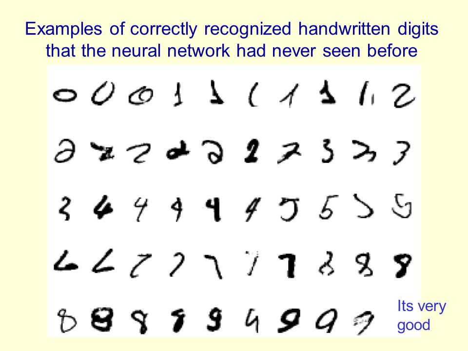 Examples of correctly recognized handwritten digits that the neural network had never seen before Its very good