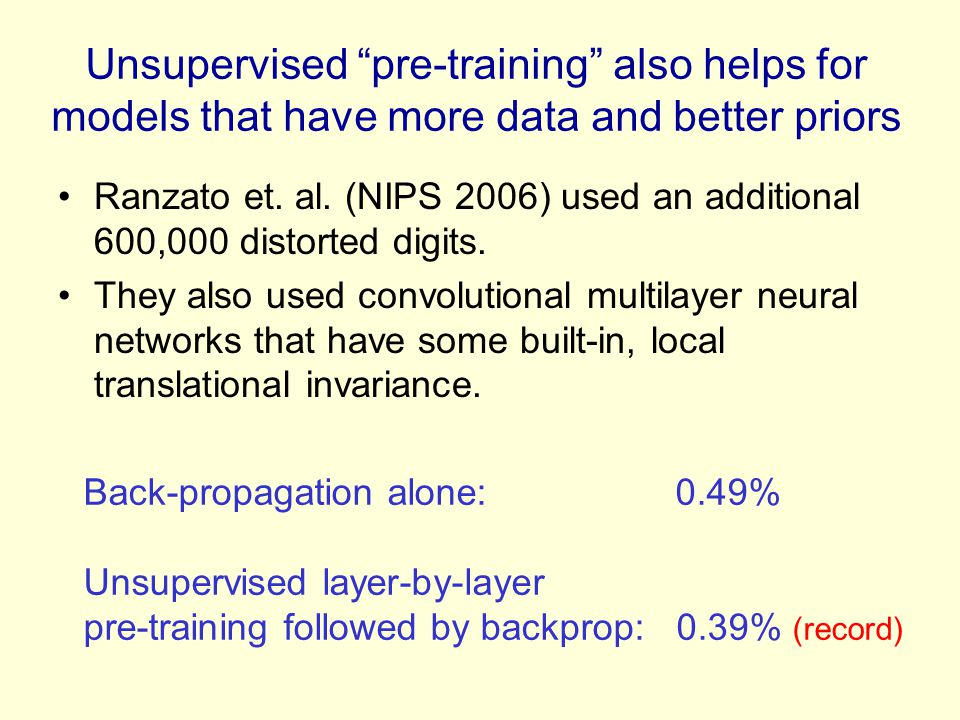 "Unsupervised ""pre-training"" also helps for models that have more data and better priors Ranzato et. al. (NIPS 2006) used an additional 600,000 distort"