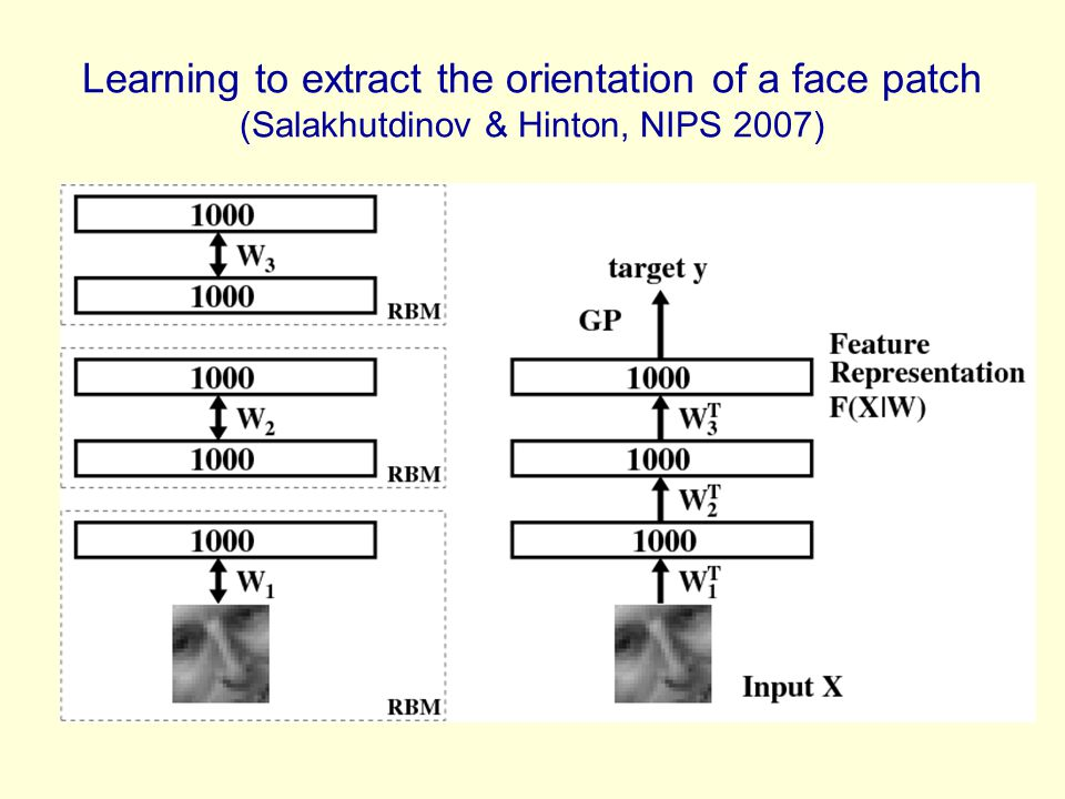 Learning to extract the orientation of a face patch (Salakhutdinov & Hinton, NIPS 2007)