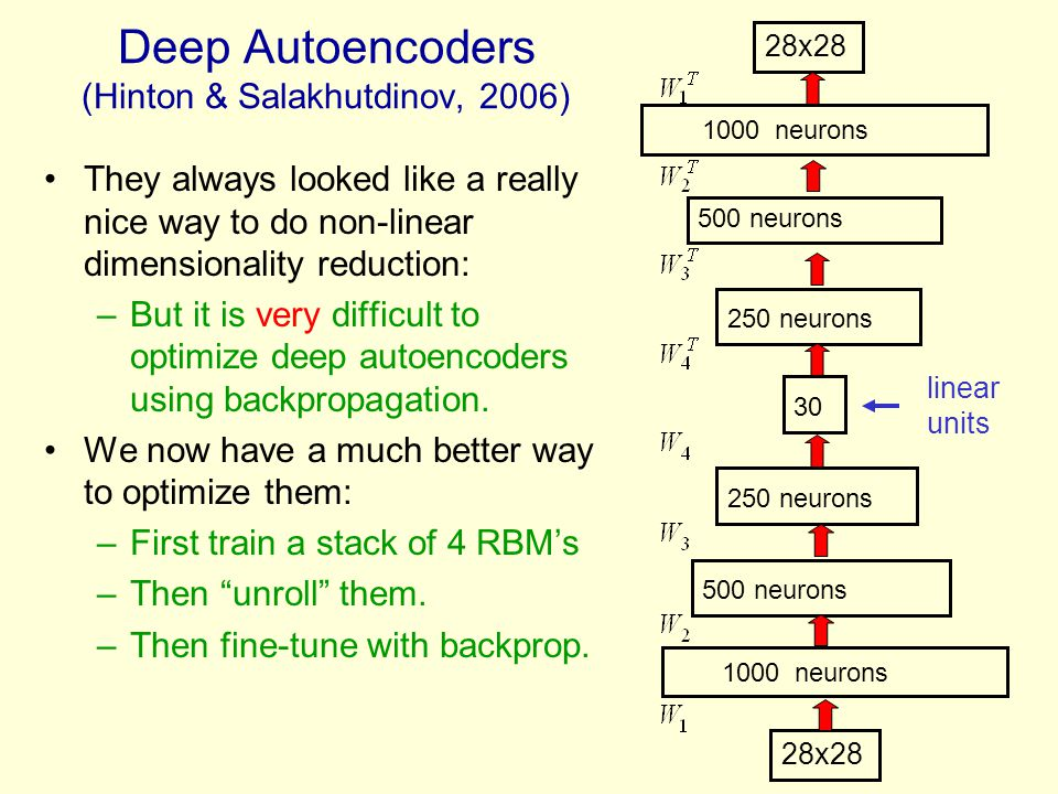 Deep Autoencoders (Hinton & Salakhutdinov, 2006) They always looked like a really nice way to do non-linear dimensionality reduction: –But it is very