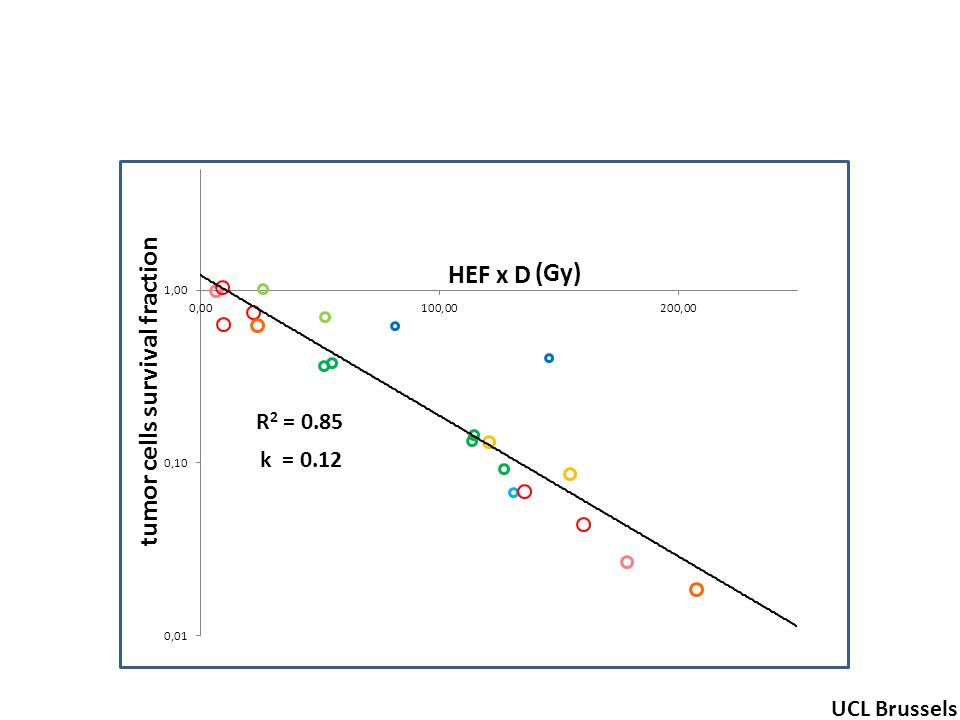 R 2 = 0.85 tumor cells survival fraction (Gy) UCL Brussels k = 0.12 HEF x D