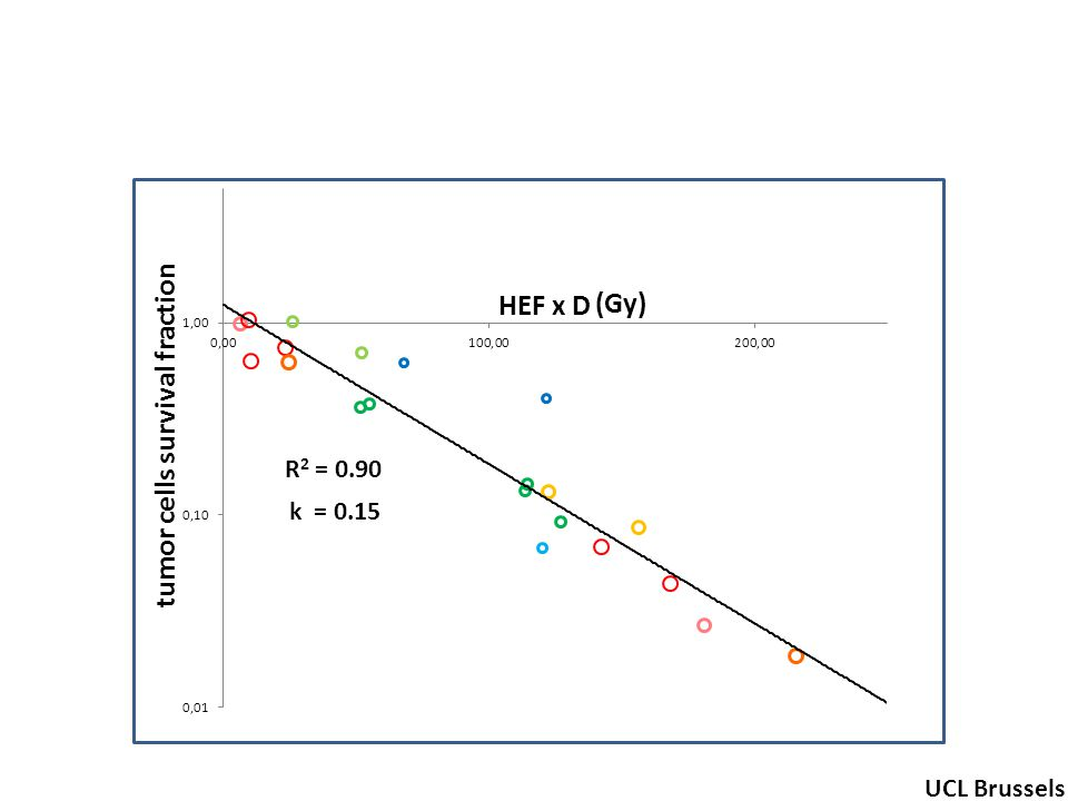 R 2 = 0.90 tumor cells survival fraction (Gy) UCL Brussels k = 0.15 HEF x D