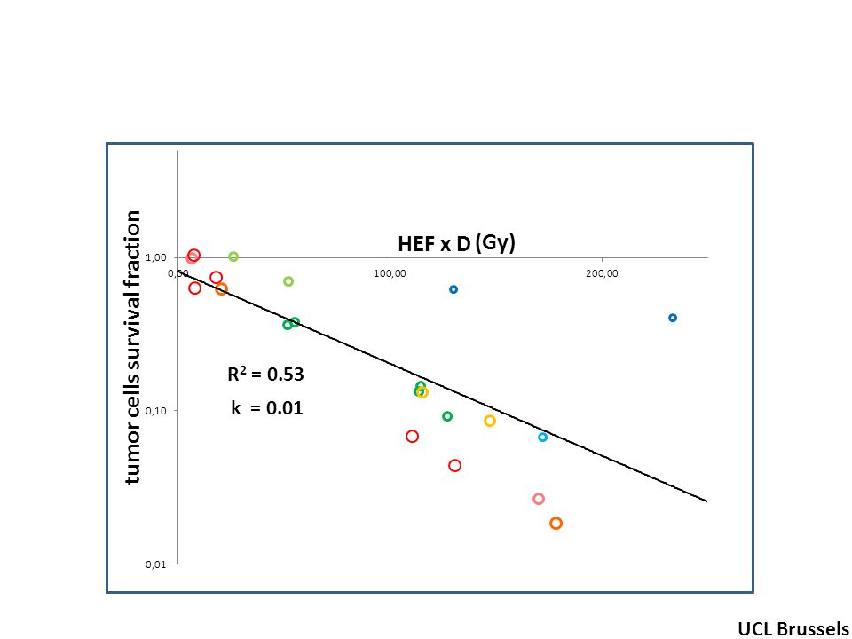 - R 2 = 0.53 tumor cells survival fraction (Gy) UCL Brussels k = 0.01 HEF x D
