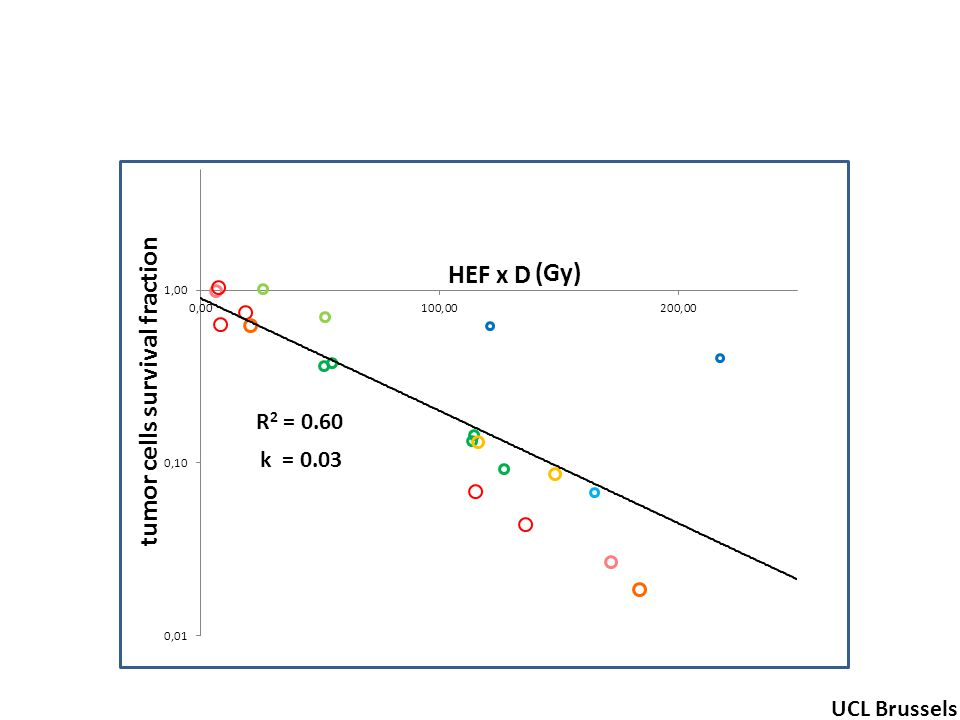 R 2 = 0.60 tumor cells survival fraction (Gy) UCL Brussels k = 0.03 HEF x D