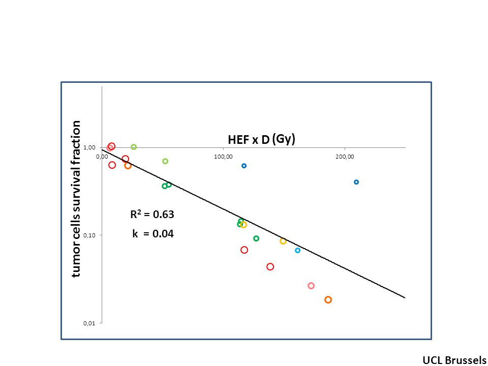 R 2 = 0.63 tumor cells survival fraction (Gy) UCL Brussels k = 0.04 HEF x D