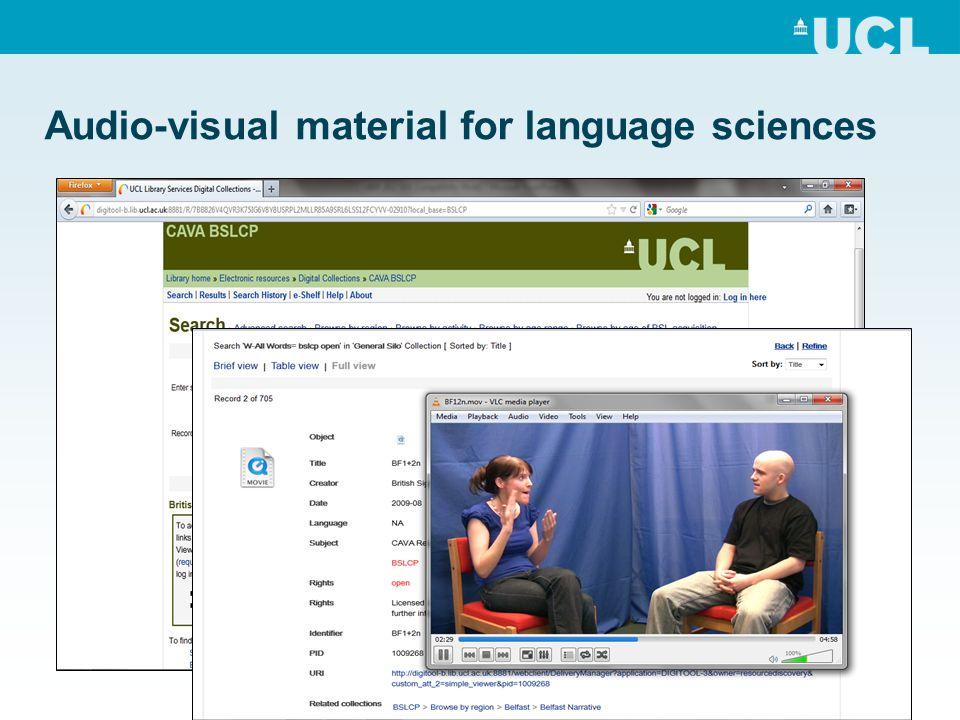 Audio-visual material for language sciences
