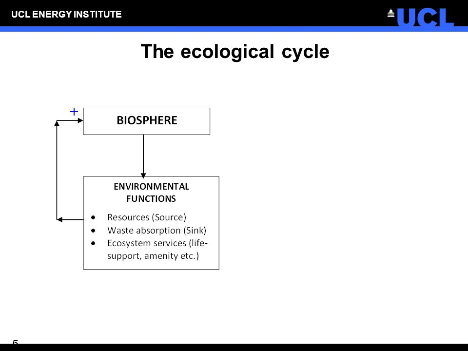 UCL ENERGY INSTITUTE 6 The ecological cycle and human well- being