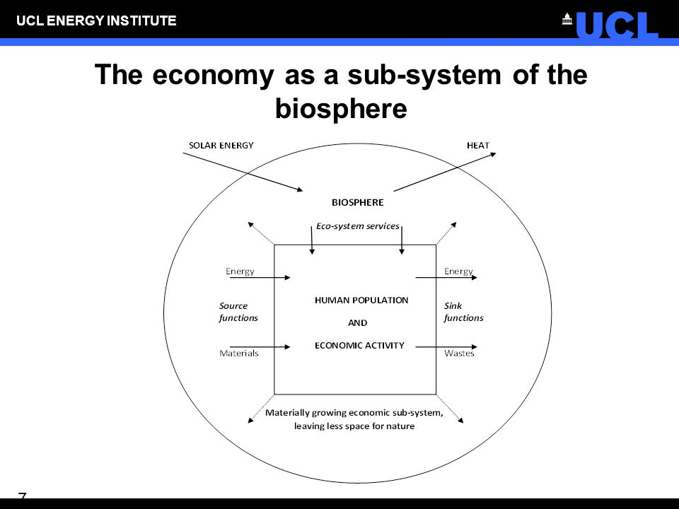 UCL ENERGY INSTITUTE 7 The economy as a sub-system of the biosphere