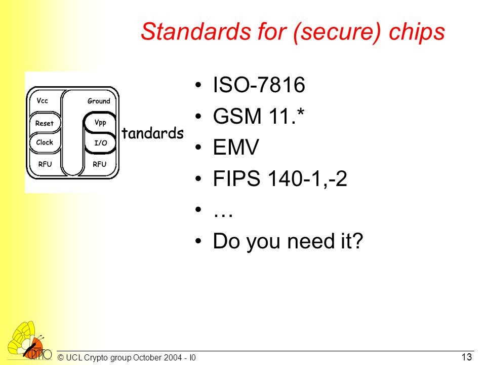 © UCL Crypto group October 2004 - I0 13 Standards for (secure) chips ISO-7816 GSM 11.* EMV FIPS 140-1,-2 … Do you need it