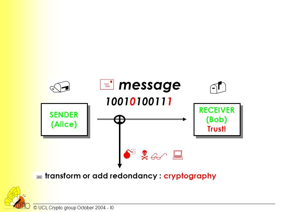 © UCL Crypto group October 2004 - I0 ; transform or add redondancy : cryptography SENDER (Alice) SENDER (Alice) RECEIVER (Bob) Trust! RECEIVER (Bob) T