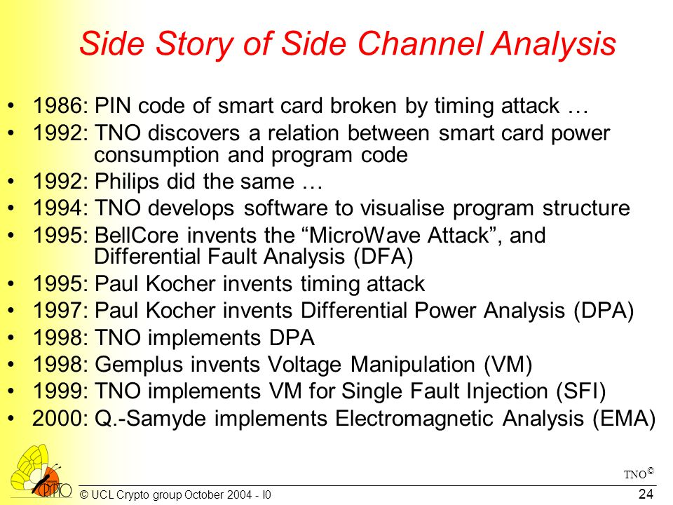© UCL Crypto group October 2004 - I0 24 Side Story of Side Channel Analysis 1986: PIN code of smart card broken by timing attack … 1992: TNO discovers a relation between smart card power consumption and program code 1992: Philips did the same … 1994: TNO develops software to visualise program structure 1995: BellCore invents the MicroWave Attack , and Differential Fault Analysis (DFA) 1995: Paul Kocher invents timing attack 1997: Paul Kocher invents Differential Power Analysis (DPA) 1998: TNO implements DPA 1998: Gemplus invents Voltage Manipulation (VM) 1999: TNO implements VM for Single Fault Injection (SFI) 2000: Q.-Samyde implements Electromagnetic Analysis (EMA) TNO ©