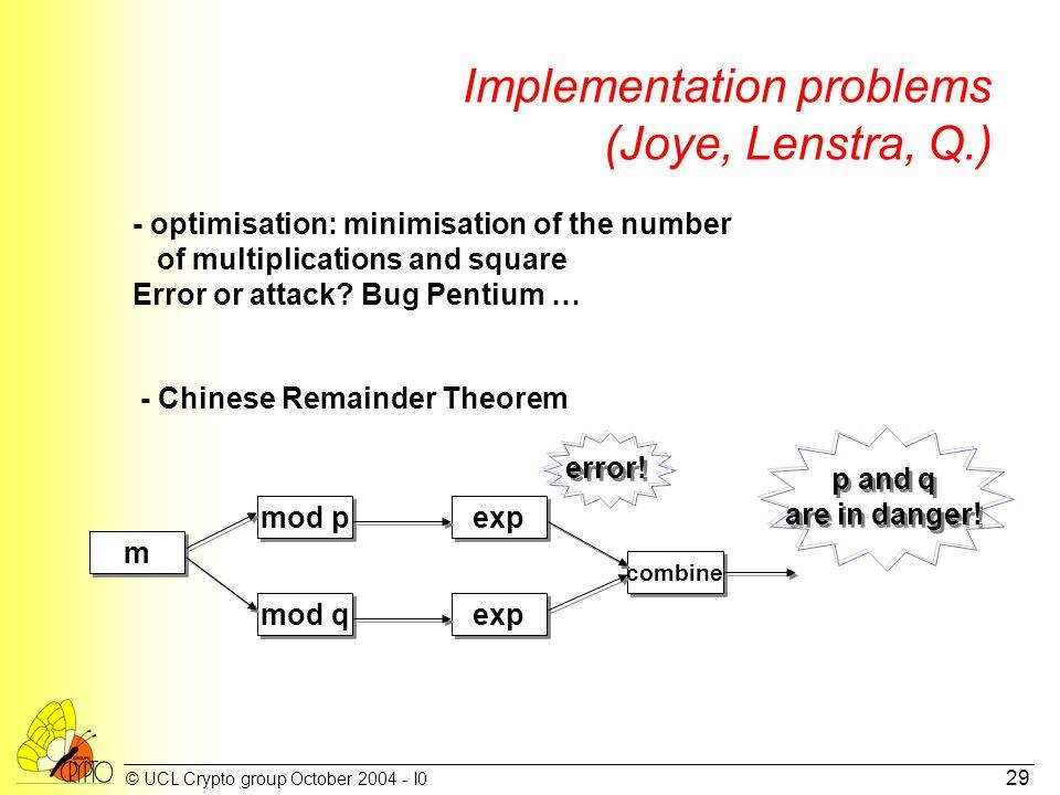 © UCL Crypto group October 2004 - I0 29 Implementation problems (Joye, Lenstra, Q.) - optimisation: minimisation of the number of multiplications and