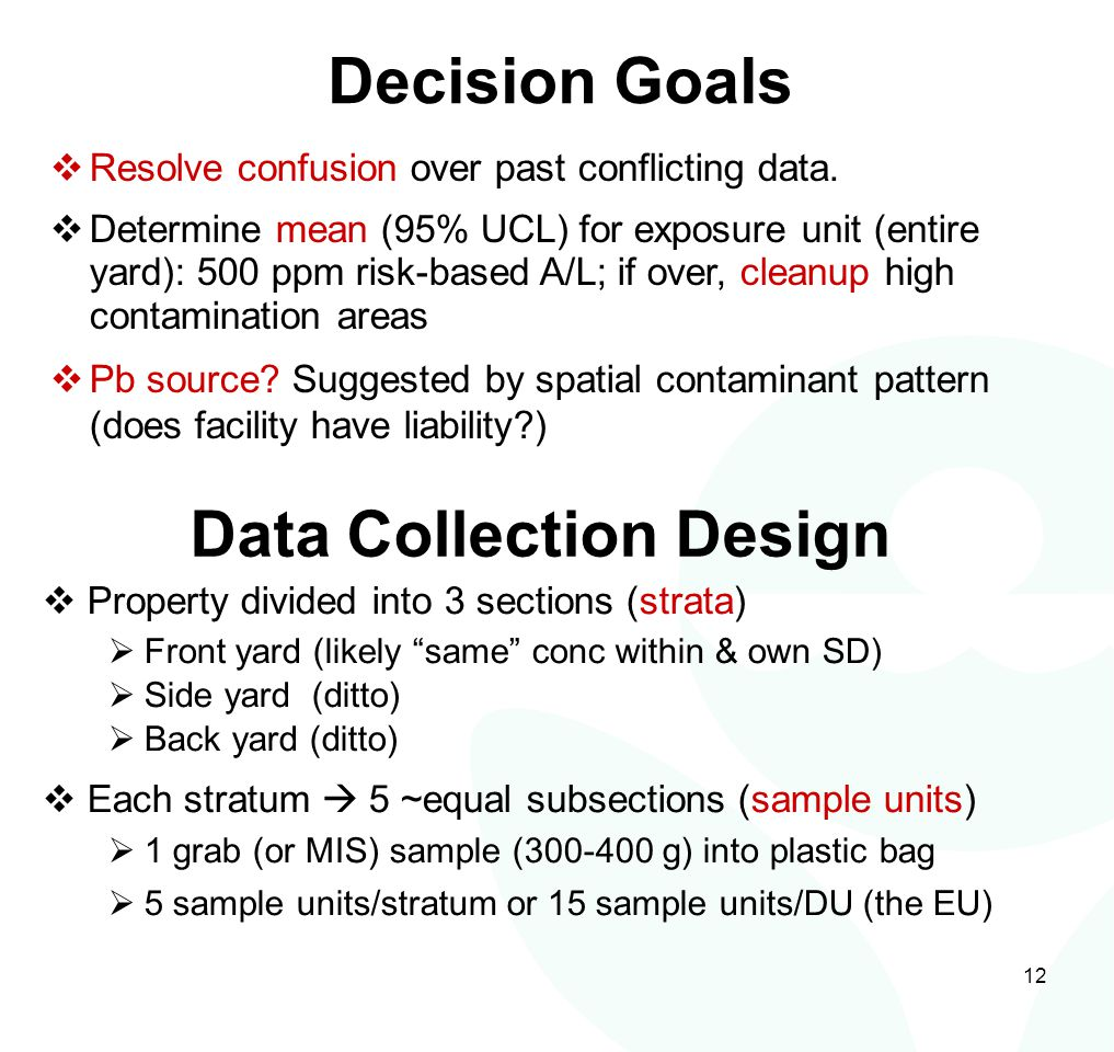 12 Decision Goals  Resolve confusion over past conflicting data.  Determine mean (95% UCL) for exposure unit (entire yard): 500 ppm risk-based A/L;