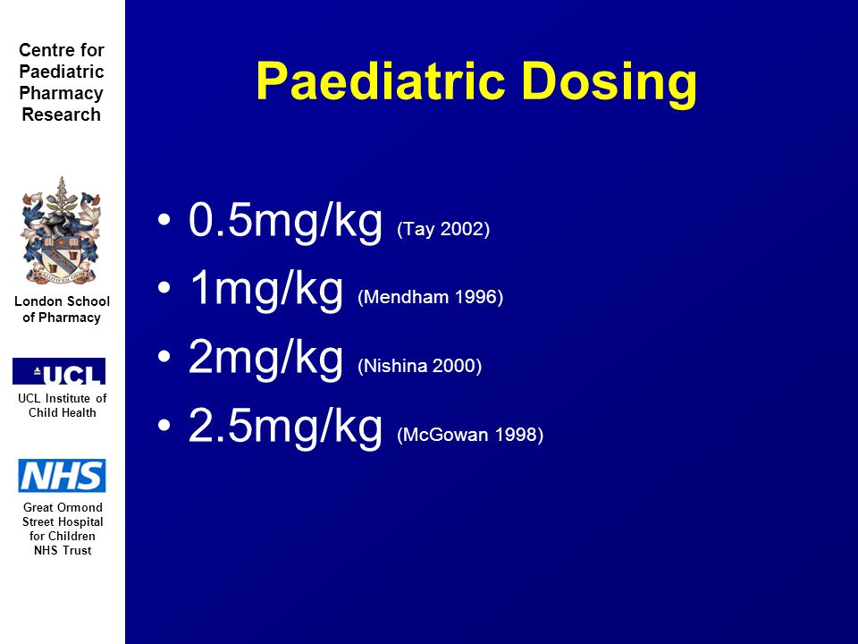 Great Ormond Street Hospital for Children NHS Trust London School of Pharmacy UCL Institute of Child Health Centre for Paediatric Pharmacy Research Overview Introduction Aims/Methods Results Model Evaluation Dose Simulations Conclusions