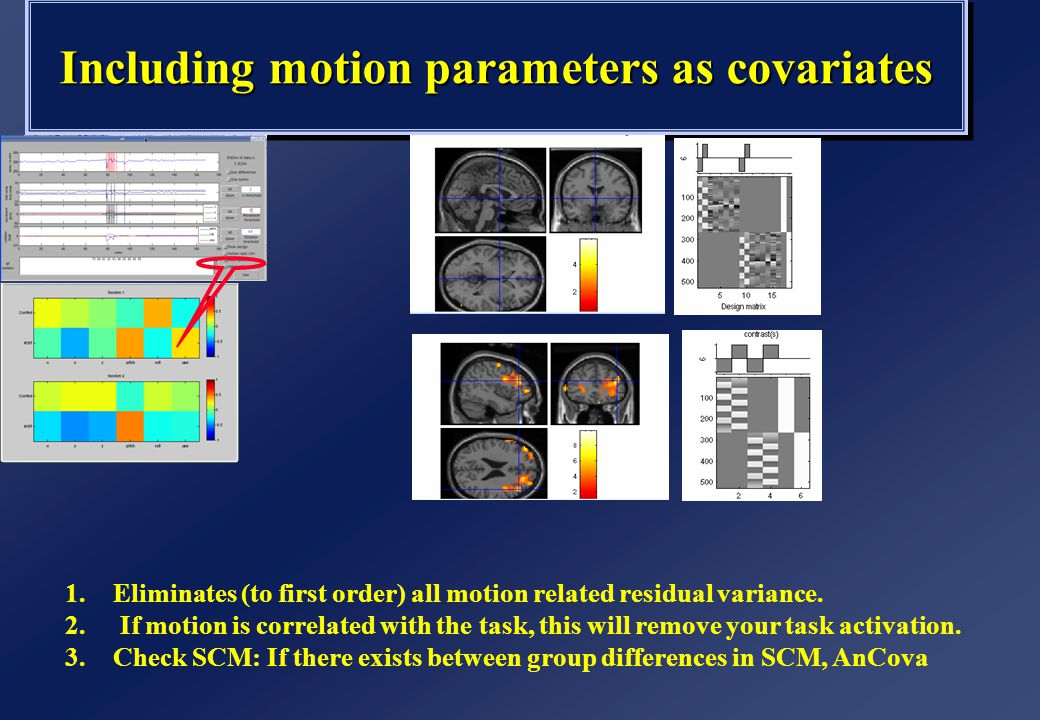 Including motion parameters as covariates 1.Eliminates (to first order) all motion related residual variance. 2. If motion is correlated with the task