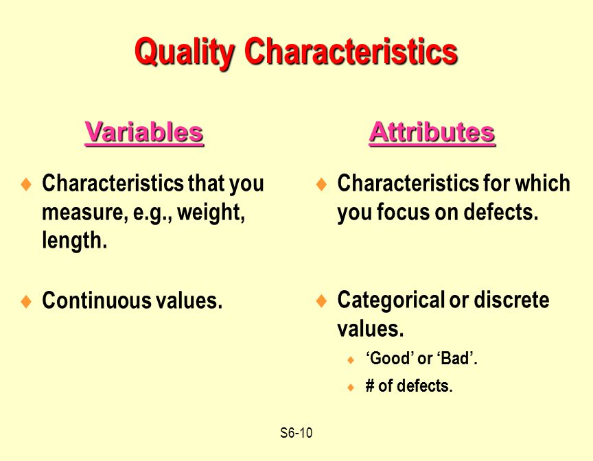 S6-10  Characteristics for which you focus on defects.  Categorical or discrete values.  'Good' or 'Bad'.  # of defects. AttributesVariables Quali