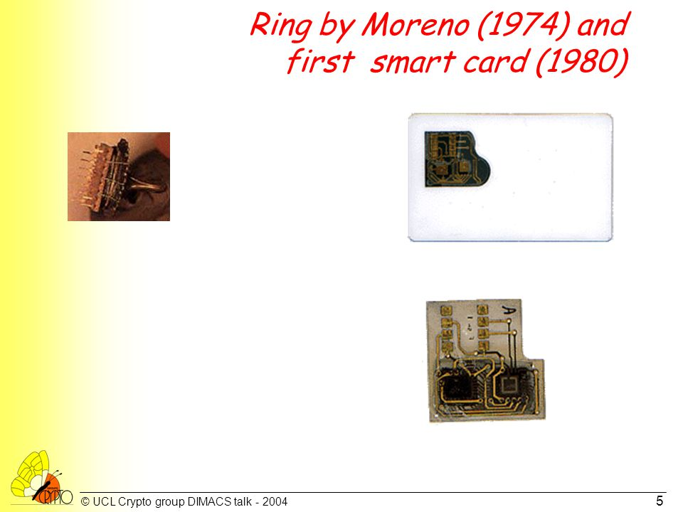 © UCL Crypto group DIMACS talk - 2004 5 Ring by Moreno (1974) and first smart card (1980)