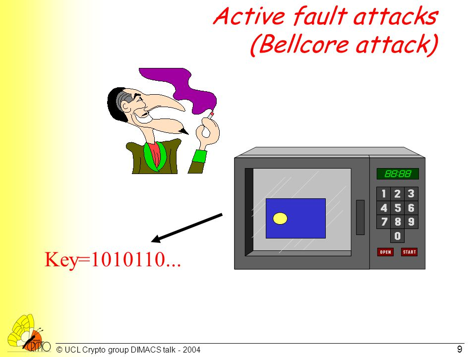 © UCL Crypto group DIMACS talk - 2004 9 Active fault attacks (Bellcore attack) Key=1010110...