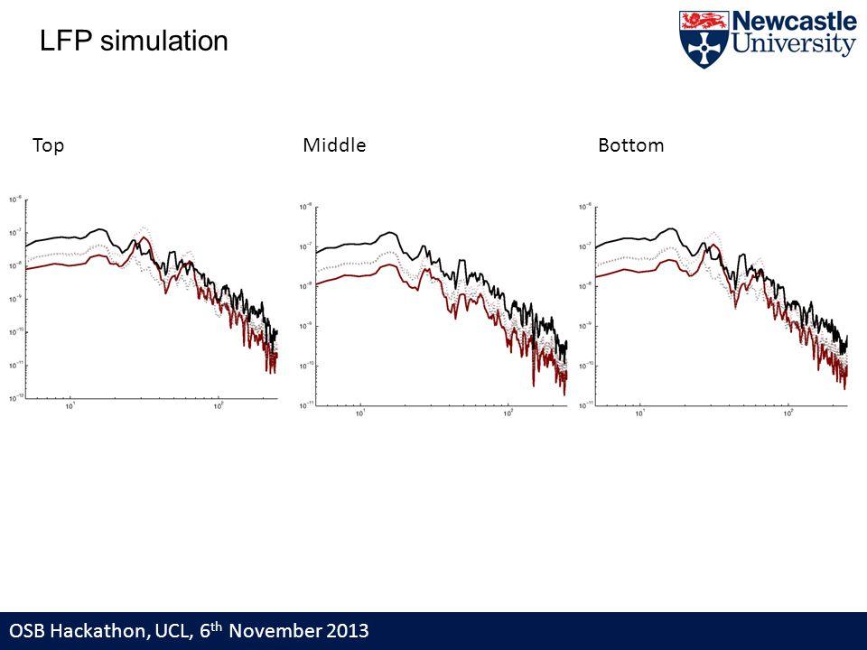 OSB Hackathon, UCL, 6 th November 2013 LFP simulation Top Middle Bottom