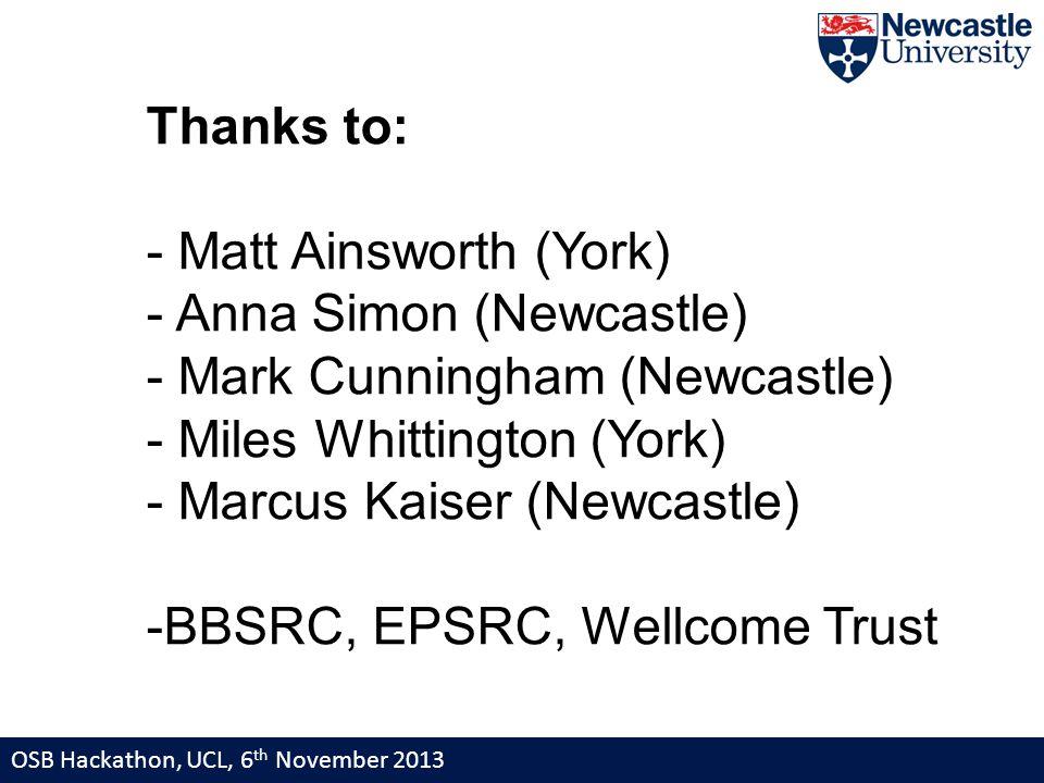 OSB Hackathon, UCL, 6 th November 2013 Thanks to: - Matt Ainsworth (York) - Anna Simon (Newcastle) - Mark Cunningham (Newcastle) - Miles Whittington (