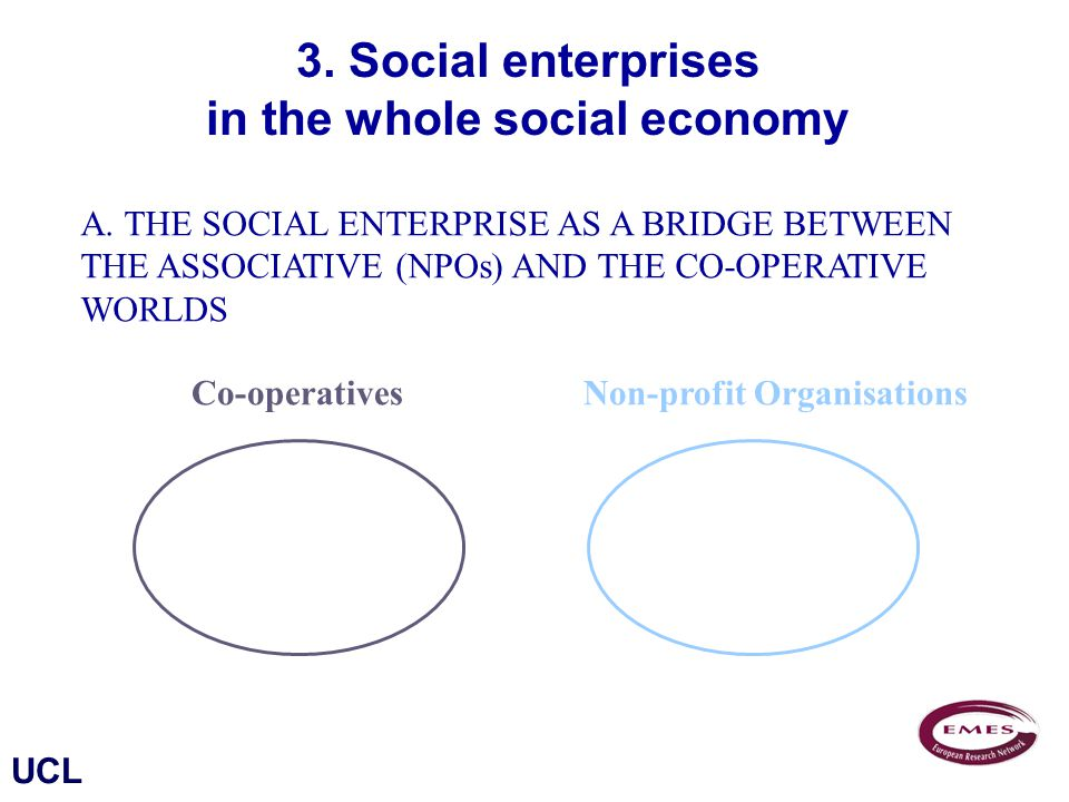 UCL Co-operativesNon-profit Organisations 3. Social enterprises in the whole social economy A.