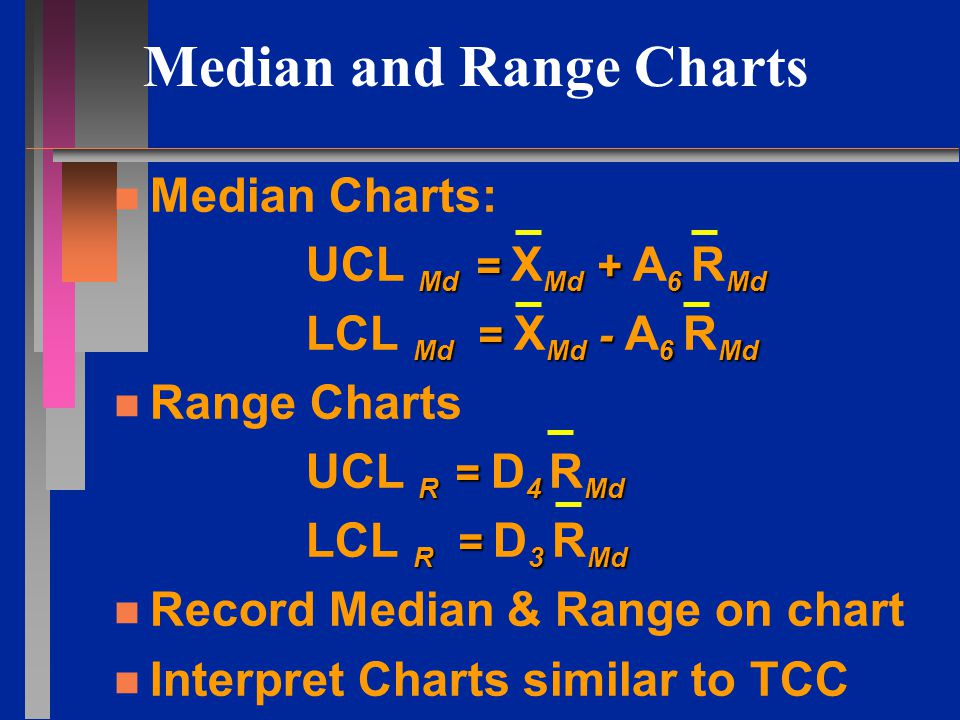 Median and Range Charts n n Median Charts: Md = Md + 6 Md UCL Md = X Md + A 6 R Md Md = Md - 6 Md LCL Md = X Md - A 6 R Md n n Range Charts R = 4 Md UCL R = D 4 R Md R = 3 Md LCL R = D 3 R Md n n Record Median & Range on chart n n Interpret Charts similar to TCC