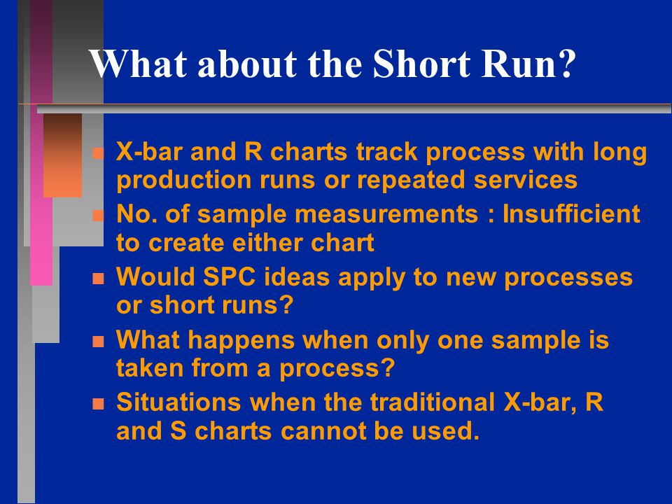 Nominal X-bar and R Charts Steps n n Plot all X-bars on the chart n n Continue the above for the entire run of this particular part number n n Repeat the above for another part number n n If the number of subgroups (from any combination of parts) >= 20, calculate the control limits