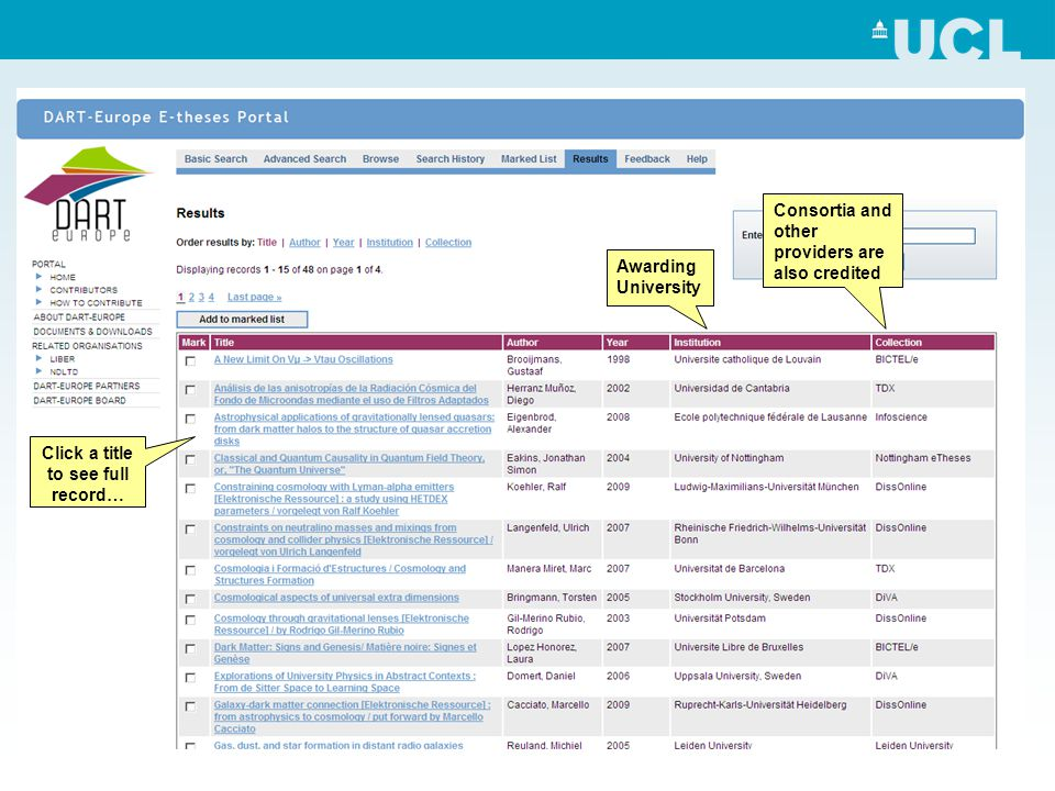 Awarding University Click a title to see full record… Consortia and other providers are also credited