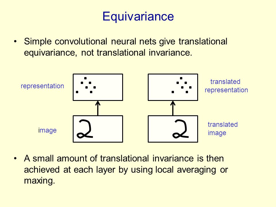 Equivariance Simple convolutional neural nets give translational equivariance, not translational invariance.