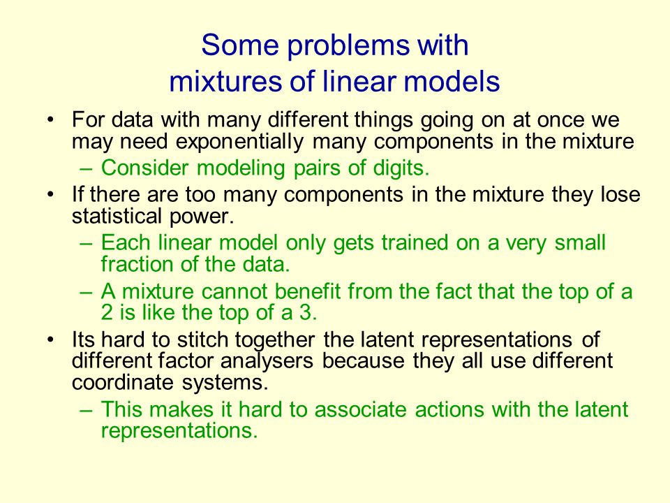 Some problems with mixtures of linear models For data with many different things going on at once we may need exponentially many components in the mixture –Consider modeling pairs of digits.