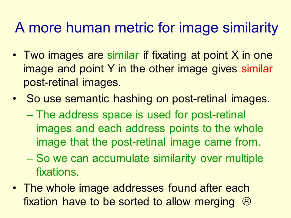 A more human metric for image similarity Two images are similar if fixating at point X in one image and point Y in the other image gives similar post-retinal images.