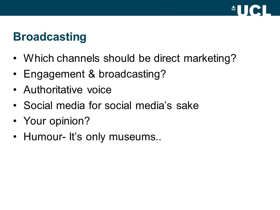 Broadcasting Which channels should be direct marketing.