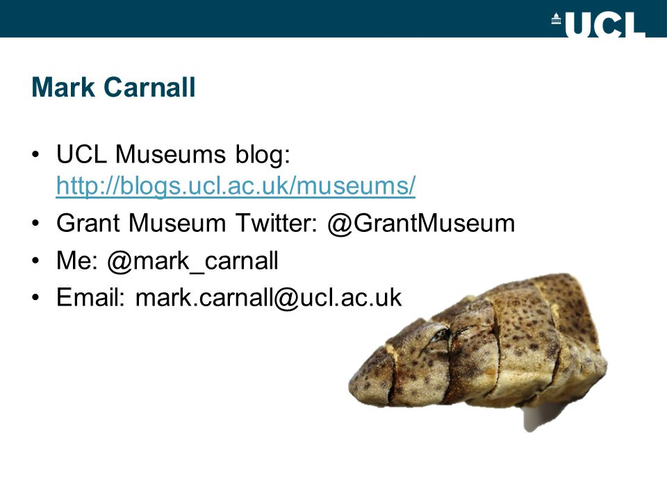 Mark Carnall UCL Museums blog: http://blogs.ucl.ac.uk/museums/ http://blogs.ucl.ac.uk/museums/ Grant Museum Twitter: @GrantMuseum Me: @mark_carnall Email: mark.carnall@ucl.ac.uk